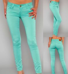 Solid Mint Skinny Pants