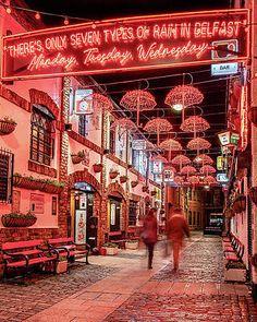 Umbrella Alley In The Cathedral Quarter - Belfast Print by Barry O Carroll Belfast Castle, Belfast Ireland, Galway Ireland, Preschool Weather, Weather Activities, Ireland Vacation, Ireland Travel, Belfast Restaurants, Wizard Of Oz