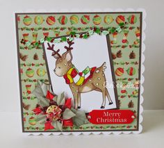 Trimcraft Helz Cuppleditch Winter Woodland Reindeer card - complete card tutorial