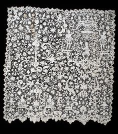 Panel of high quality needle lace, in the 'Berainesque' style, Point de France, French, c. 1695