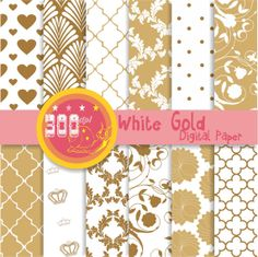 Gold scrapbook paper gold digital paper 'white gold' by GemmedSnail, $4.80