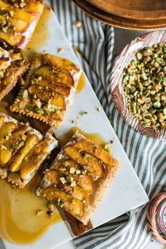 PEACH & GOAT CHEESE TART WITH HONEY DRIZZLE & CRUSHED PISTACHIOS