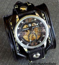 Leather Cuff Watch, Leather Wrist Watch, Men's watch, Leather Cuff, Bracelet Watch, Watch Cuff, Mens Gift, Black Leather cuff