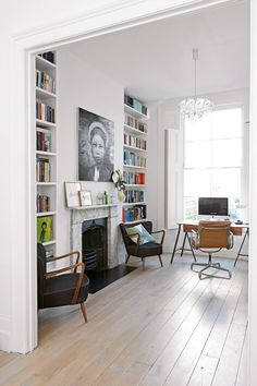 With home office decor as inviting as this, you won't mind being a little more house bound. Get inspired by these stylish home office design ideas Room, Home Living Room, House, Victorian Terrace Interior, Home, Home Office Design, Interior Design, Home And Living, Victorian Living Room
