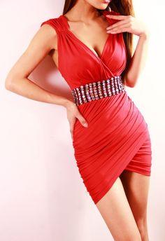 Low-Cut Backless Diamante Beam Waist Shirred Asymmetrical Hem Packet Buttock Stylish Dress   dresslily.com