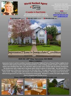 Real Estate for Sale at $475,000! Four Bedroom, three Bath, 3271 square foot immaculate two story Highland Park traditional home on .23 acre lot located at 4505 NE 138th Way, Vancouver, Washington 98686 in Clark County area 44 which is the North Salmon Creek area in Vancouver. The RMLS number is 15060923. It has one gas fireplace and is not considered to be a view home. It was built in 1999 and the local high school is Skyview High. The annual taxes due are $5,204.82. It is not a short sale…