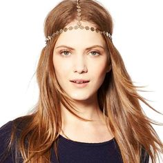 Tonsee Hair Chain Vintage Gold Tone Party Headpiece -- Check out the image by visiting the link.