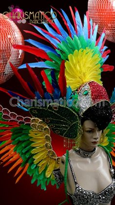 79e9254e165 CHARISMATICO Brightly Color Feather Rainbow Gay Pride Headdress And Drag  Queen Wing Set