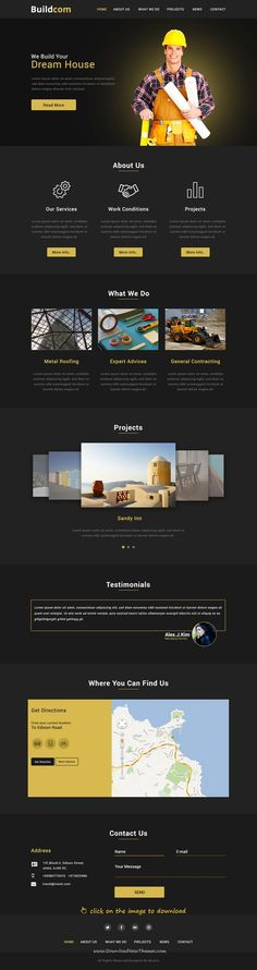 Buildcom is clean and modern design PSD template for onepage #construction and #building agencies website to live preview & download  click on the image.