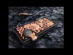 Making film biker long wallet handmade carving leather 가죽카빙 - YouTube