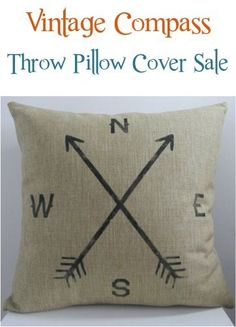 Vintage Compass Throw Pillow Cover Sale!  This is the easiest way to update the look of your room on a budget!  I have one in my living room and LOVE it!