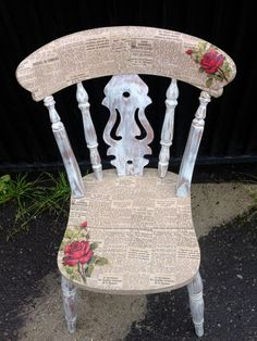 Decoupage Vintage Chair w Roses and News Paper print by urbanrook, I'd want to use smaller, fuzzy-edged pieces of newspaper Decoupage Furniture, Old Furniture, Upcycled Furniture, Shabby Chic Furniture, Furniture Projects, Furniture Makeover, Chair Makeover, Furniture Stores, Cheap Furniture