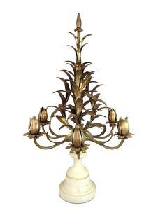 Hollywood Regency Italian Tole Candelabra - Gold Gilt Tole Sconces - Italian Toleware Centerpiece    {Description}  Elegant Italian tole candelabra