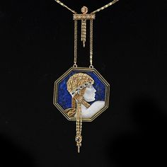 Beautiful Adenturine pendant in lapis lazuli, mother of pearl, gold and sapphires from Erte'. Via Jewelry Nerd http://www.jewelrynerd.org/erte-the-father-of-art-deco-and-jewelry/