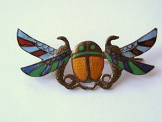 VINTAGE ART DECO EGYPTIAN REVIVAL ENAMELED SCARAB 800 SILVER GILT BROOCH PIN