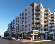 Vue de coin de MYX condos. Building Facade, Condos, Condominium, Multi Story Building, Architecture, Spaces, Arquitetura, Architecture Design, Facade