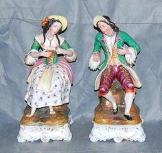Pair Antique French Porcelain Perfume Bottles Man Woman | eBay