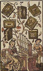 'The Seven of Books', coloured woodcut from Jost Amman's 'Charta lusoria...