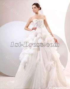 Ivory Delicate Sweetheart Puffy Ball Gown Wedding Dresses:1st-dress.com