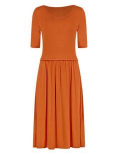 Tangerine Swing Skater Dress with StayNEW™