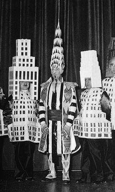 1931, NY Beaux Arts Ball, Architects dressed as their buildings. Chrysler Building, Ely Jacques Kahn, Manhattan Skyline, New York City, One Wall Street, Ralph Walker, Squibb Building, vintage, William Van Alen
