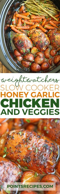 Slow Cooker Honey Garlic Chicken and Veggies (Weight Watchers SmartPoints) (Paleo Recipes Slow Cooker) Crock Pot Recipes, Ww Recipes, Slow Cooker Recipes, Chicken Recipes, Cooking Recipes, Healthy Recipes, Recipies, Crockpot Meals, Multi Cooker Recipes