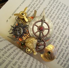 Steampunk World Traveler Brooch/Pin - Brass Propellor and Air Balloon - Brass Globe and Silver Wings - Aviation Icons