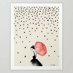 Polka Rain Print by Karen Hofstetter Society6 very Audrey Hepburn to me