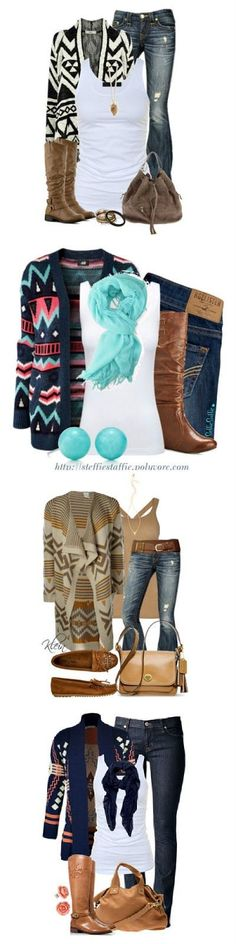 I would love a cardigan like one of these with all the color.. Not a fan of the black/white one but I like the others :).