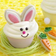 Bunny Carrot Cakes & Cookies Recipe -Who can resist these incredibly cute springtime bunny treats? And better yet, they utilize convenience items such as refrigerated cookie dough and a spice cake mix that is doctored up with shredded carrots and cinnamon. —Taste of Home Test Kitchen