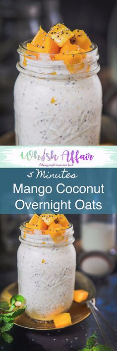 Healthy Mango Coconut Overnight Oats are a superb option to make for breakfast. All you have to do is drop all the ingredients in a jar and refrigerate overnight for a healthy creamy goodness to savour in the morning. Mango I  Recipe I Easy I Simple I Best I Quick I perfect I Oat I Oats I Overnight i  via @WhiskAffair