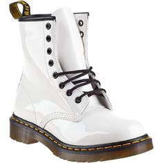 DR. MARTENS 1460 Lace-Up Boot White Patent (€81) found on Polyvore featuring women's fashion, shoes, boots, ankle booties, botas, ankle boots, white patent, bootie boots, lace up ankle booties and laced up ankle boots