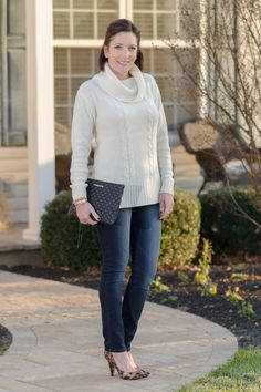 What to Wear to a Casual Holiday Party at Home: Ivory Cowl Neck Sweater + Skinny Jeans + Leopard Pumps