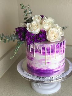 "swankydesserts:""Birthday cake for the best 14 year old girl around 💜"""