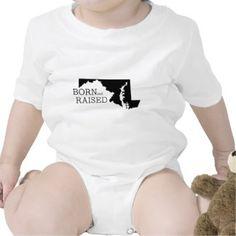 Born and Raised Maryland Rompers   Onsie Bodysuit Gift for Baby #babygift #Maryland #onsie #bodysuit #gift #cute