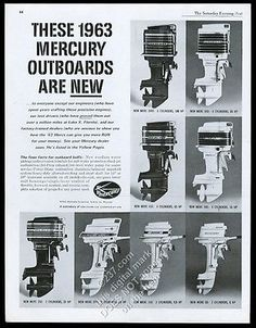 1963 Mercury outboard boat motor 8 models photo vintage print ad for USD9.98…
