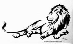 Finished tribal lion tattoo design using @Laura Kirkpatrick Marker multiliners.