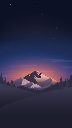Mountain in night. Tap for landscape in material design iPhone wallpapers, backgrounds, fondos. @mobile9