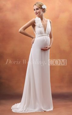 Backless Deep V Neck Empire Maternity Wedding Dress With Flower. wedding dresses 2016 for pregnant women. Our designers made unqiue wedding dresses collection with cheap wedding dresses prices , you will love. #DorisWedding.com