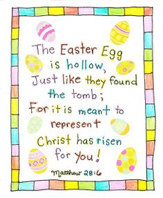 empty egg poem.  This would be cute to print out and give to my kiddos on Sunday.