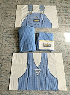 Vintage OshKosh B'Gosh Vestbak Overalls 4 Pc Full Bedding Set Full Size Comforter Sets, Twin Comforter, Twin Sheets, Twin Sheet Sets, Kids Beds For Boys, First Disney Princess, Gravity Blanket, Vintage Bedding, Full Bed