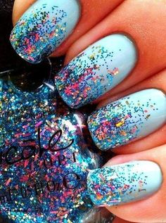 Pale Blue Glitter Nails: Style Craze picks a few Nail Polish designs with Glitte.,Pale Blue Glitter Nails: Style Craze picks a few Nail Polish designs with Glitter Styles from around the world. Fancy Nails, Love Nails, How To Do Nails, Pretty Nails, My Nails, Prom Nails, Style Nails, Gorgeous Nails, Cute Easy Nails