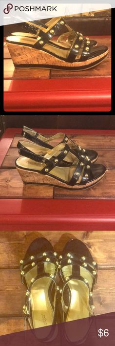 Dexter Wedges These are so cool with Dexter comfort! Worn a few times. Minimal wear. Still stunning! Gold studs & buckles. Dexter Shoes Wedges