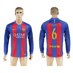 Barcelona 16-17 #Xavi 6 Hjemmebanetrøje Lange ærmer,245,14KR,shirtshopservice@gmail.com