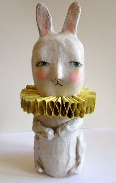 Sweet Vintagey Circus Bunny (paper mache sculpture) with Yellow-y Ruff