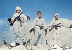Finnish ski troops crest a hazardous Nordic mountain during the Continuation War. January 30, 1942.   by Jared Enos
