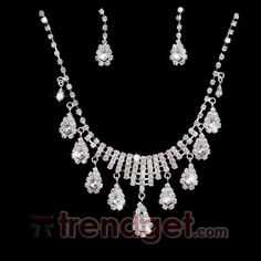 Cheap Alloy with Clear Rhinestone Bridal Jewelry Set - (Including Necklace and Earring) - $17.99 - Trendget.com
