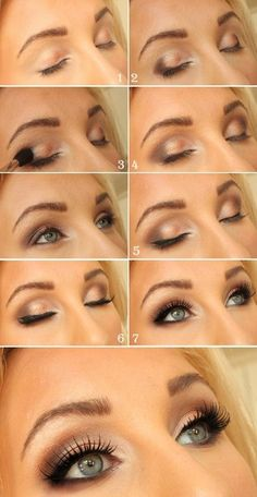 Bronze eye makeup for green eyes. Perfect for the beach or a wedding.: