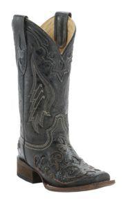 Corral Ladies Distress Black w/ Black Inlay Square Toe Boots | Cavender's