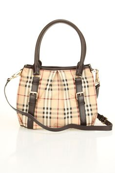 Burberry Haymarket Small Northfield Tote In Classic Check & Chocolate -